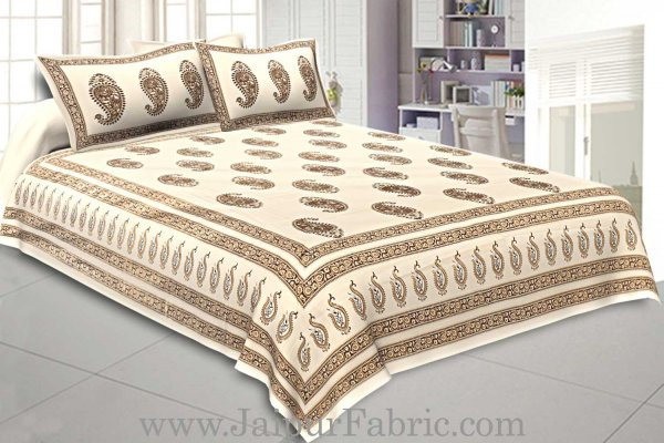 Double Cotton Bed Sheet  Cream  Base With Golden hand Block Paisley  Print