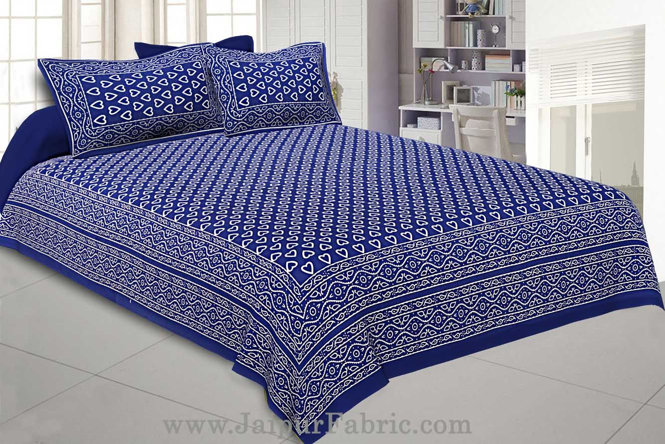 Navy Blue Hearts Double Bedsheet With 2 Pillow covers