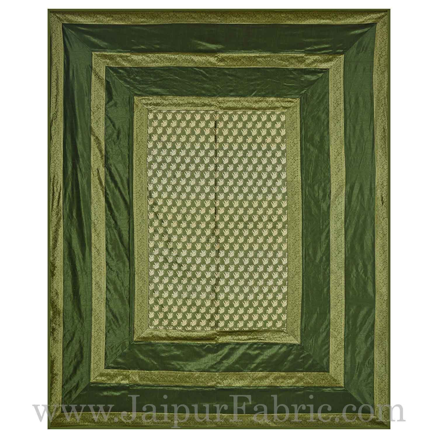 Green Rajasthani Zari Embroidered Lace Work Silk Double Bed Sheet