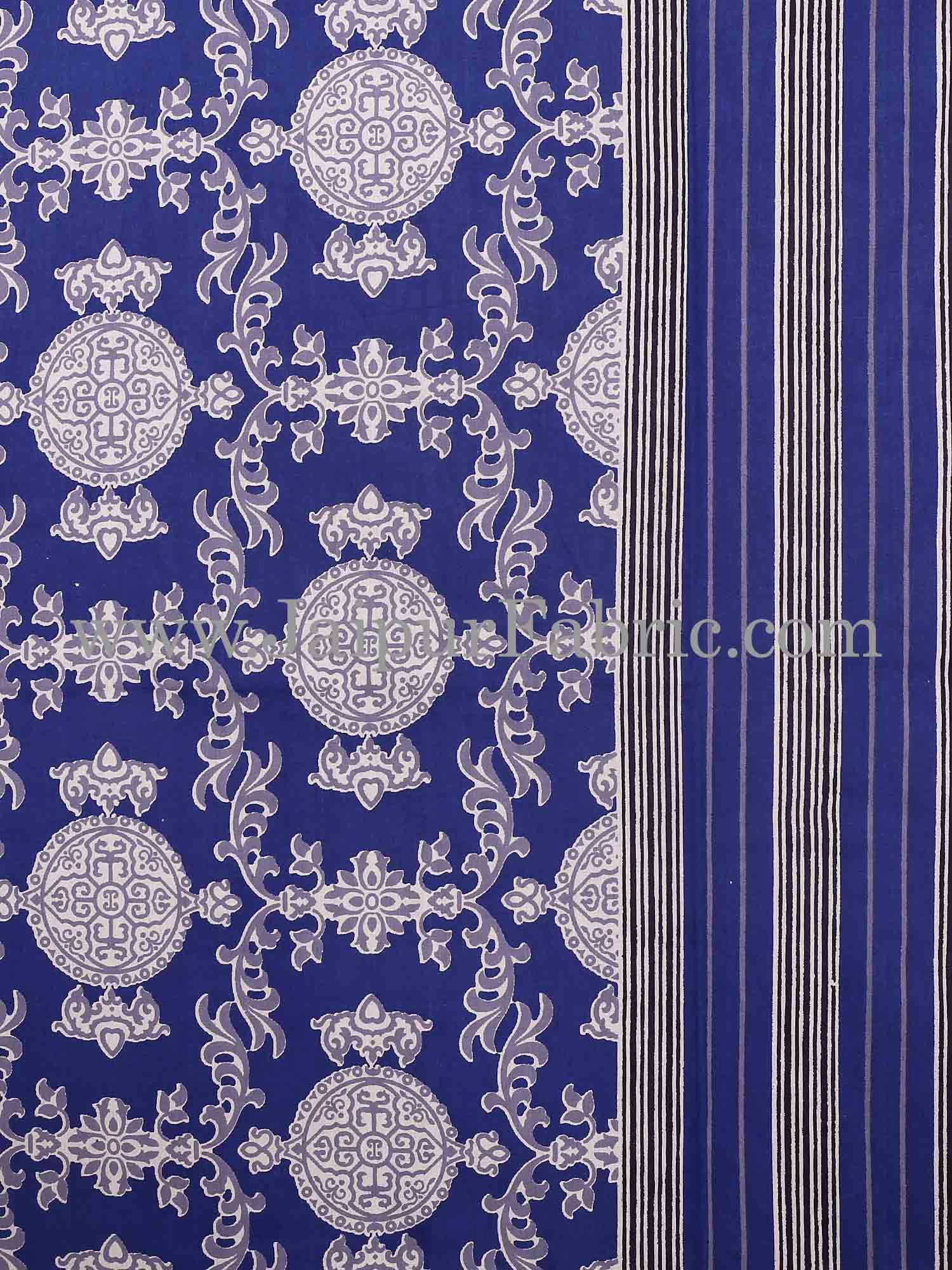 Blue  Border Blue Base Mandana Print Cotton Double Bed Sheet With Pillow Cover