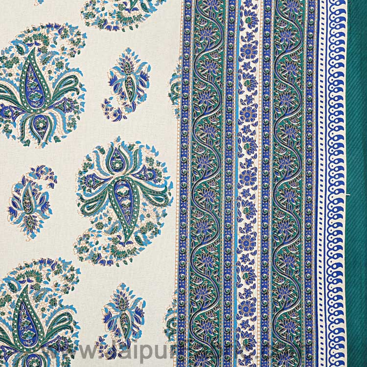 Flourishing Peacock Green Paisley Double Bedsheet