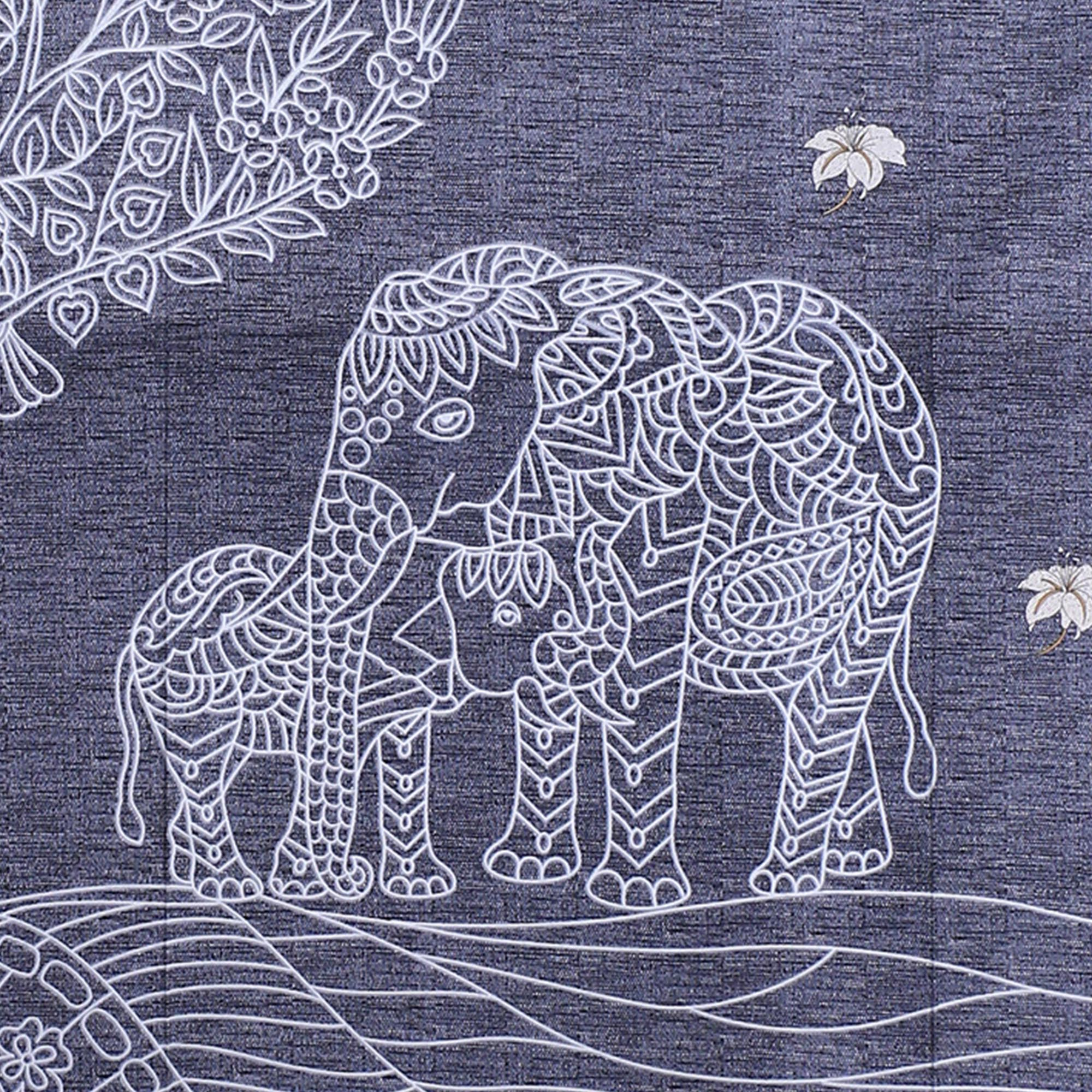 Elephant Love Blue Giza Cotton Double BedSheet