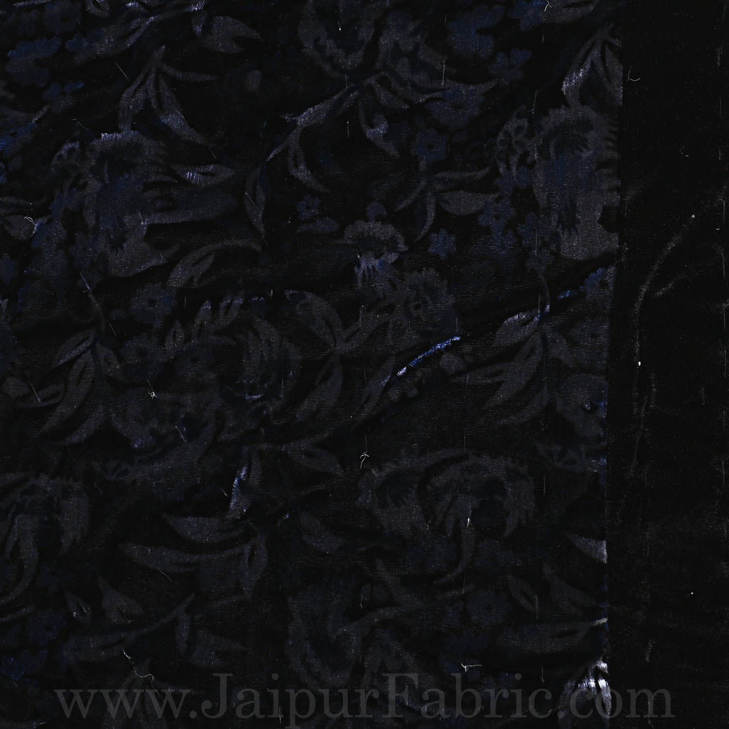 Jaipuri Double Quilt/Rajai  Hand Crafted Black Floral  Print Velvet