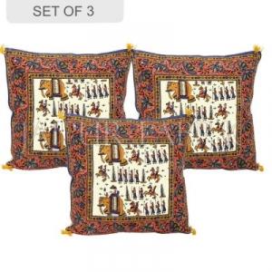 Cream Base Oranger Border Rajasthani Barat Print Cotton Cushion cover