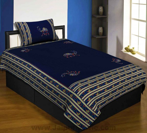 Applique Blue Camel Jaipuri  Hand Made Embroidery Patch Work Single Bedsheet
