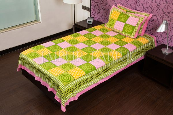 Pink Base Green Rangoli Print Cotton Single Bed Sheet