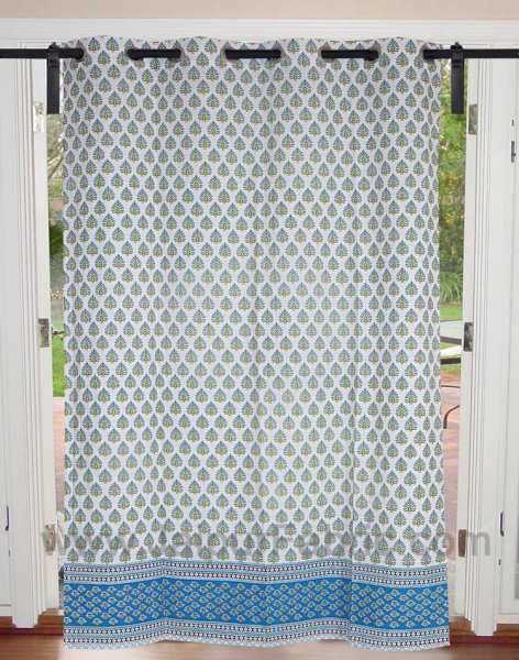 Sky Blue Floral Geometric print Cotton Grommet Curtain