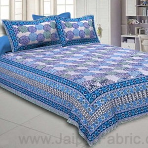 Double Bedsheet Dotted Sky Blue Circle Fine Cotton
