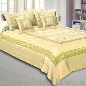 Pista Green Border Leaf Pattern Silk And Tissue Shining Fabric With Embroidery Double Bedsheet