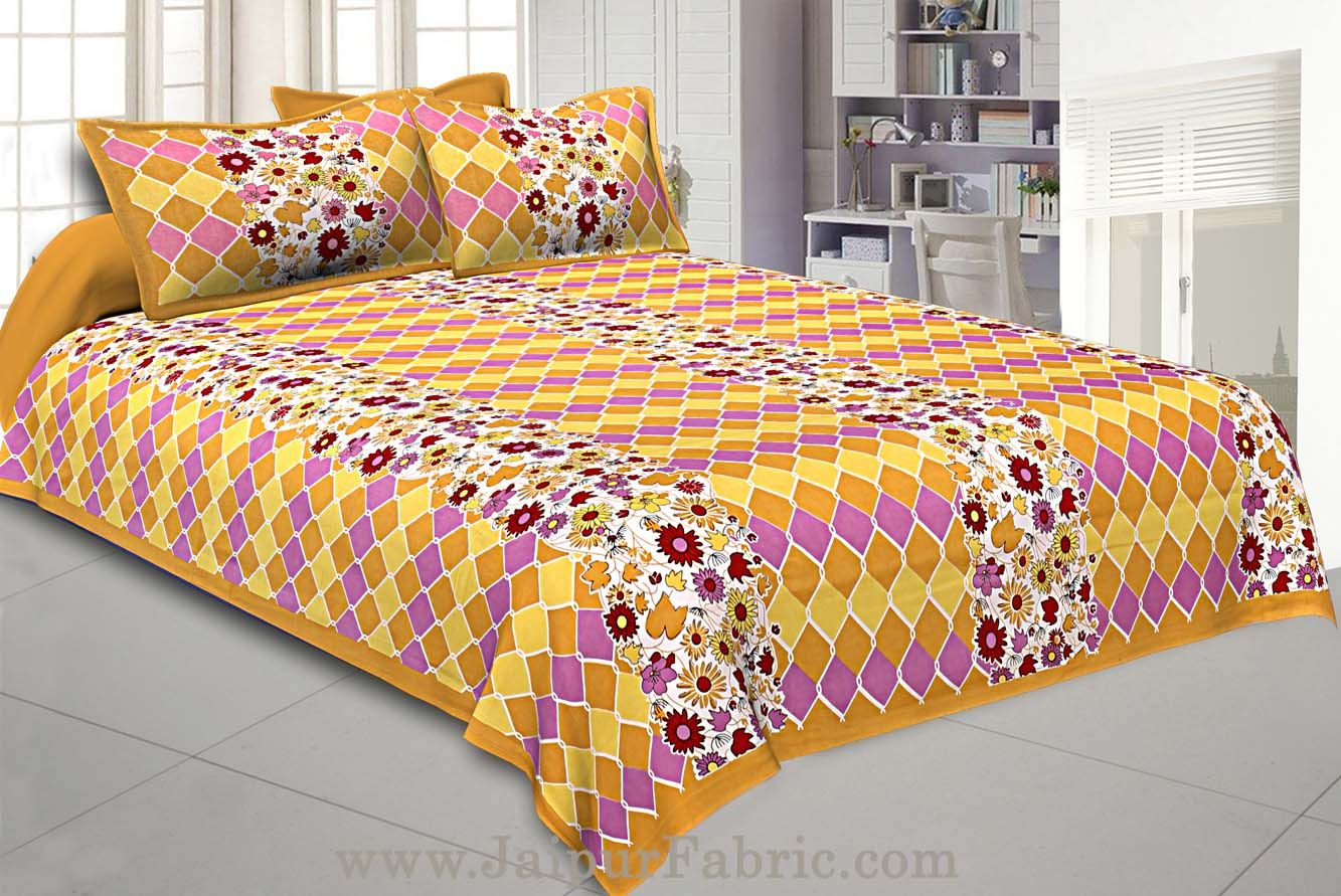 Floral Double Bedsheet Yellow border with 2 Pillow Covers