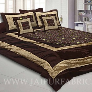Dark Brown Rajwada Silk Double Bedsheet