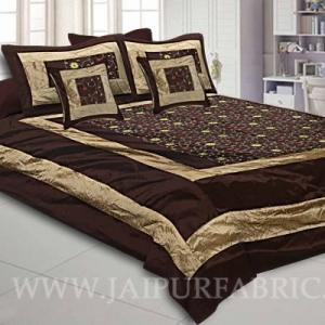 Dark Brown Rajwada Silk Double Bedsheet