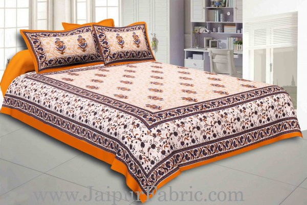 Yellow Border With Cream Base With  Small Mughal Print Cotton Double Bedsheet With Pillow Cover
