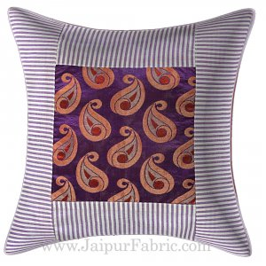 Paisley Print white lines Cushion Cover