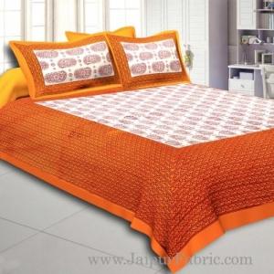Yellow Border Cream Base Kerry Boota Print Cotton Double Bed Sheet