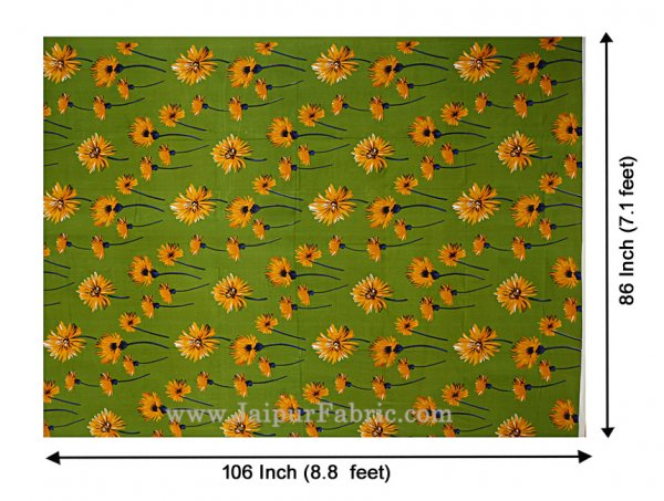 Sun Flower Double Bedsheet Green Color With 2 Pillow covers