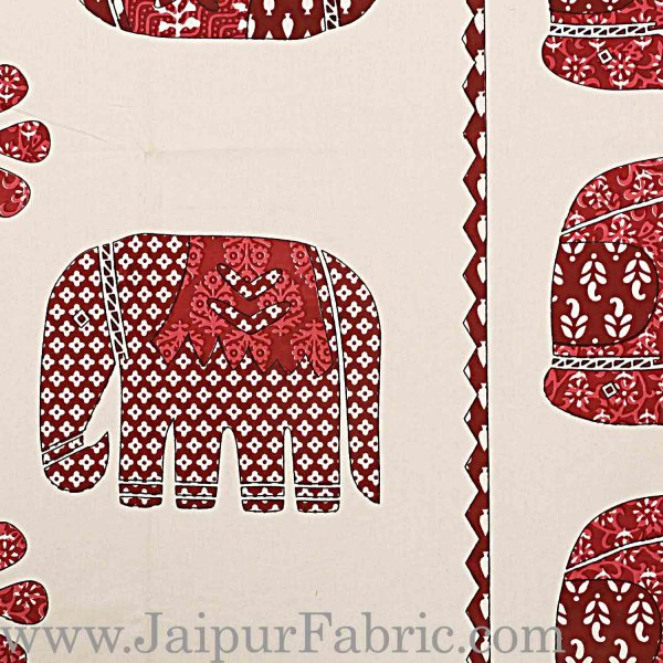 Double Bedsheet  Cream base Maroon Color Print  With Two Pillow Cover