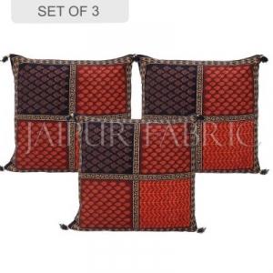 Black Border Rajasthani Block Printed Cotton Cushion Cover