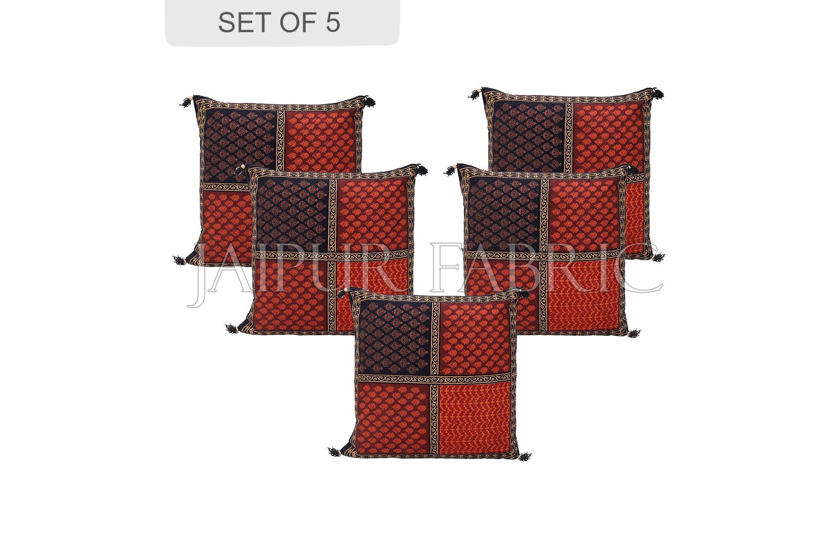 Black Border Rajasthani Block Printed Cotton Cushion Cover