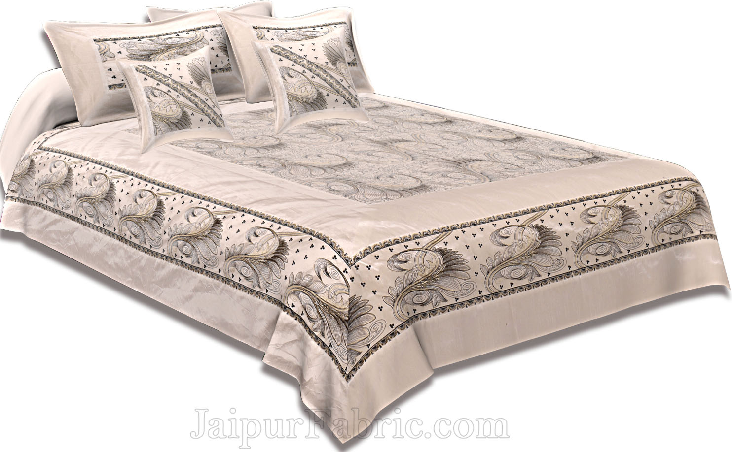 Silk Bed Sheet  White Color With Lace Work Superfine bed cover