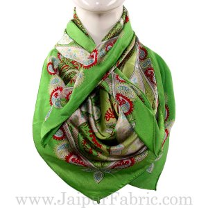 Silk Scarf Light Green Border Big Leaf Pattern