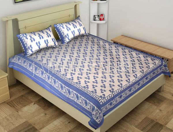Blue Anthemion Pattern Cotton Single Bed Sheet