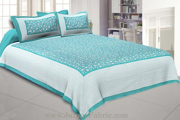 Floral Double Bedsheet Sea-Green base with 2 Pillow Covers