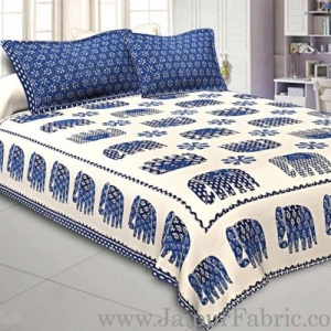 Double Bed Sheet Blue Color Elephant Print With Two Pillow Cover