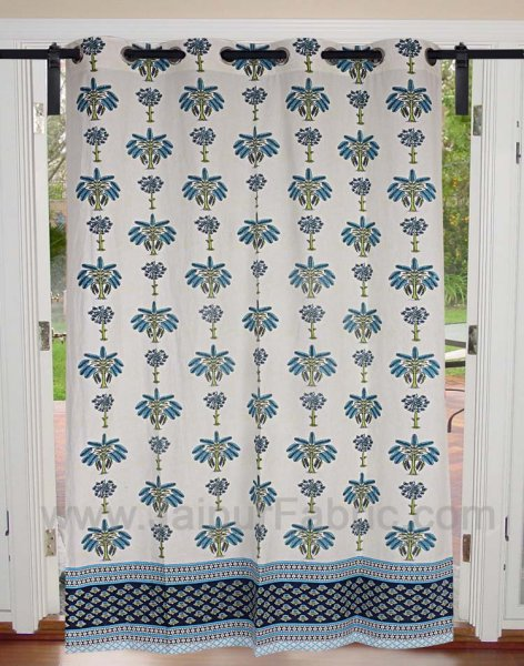 Sky Blue Tree Print Cotton Grommet Curtain