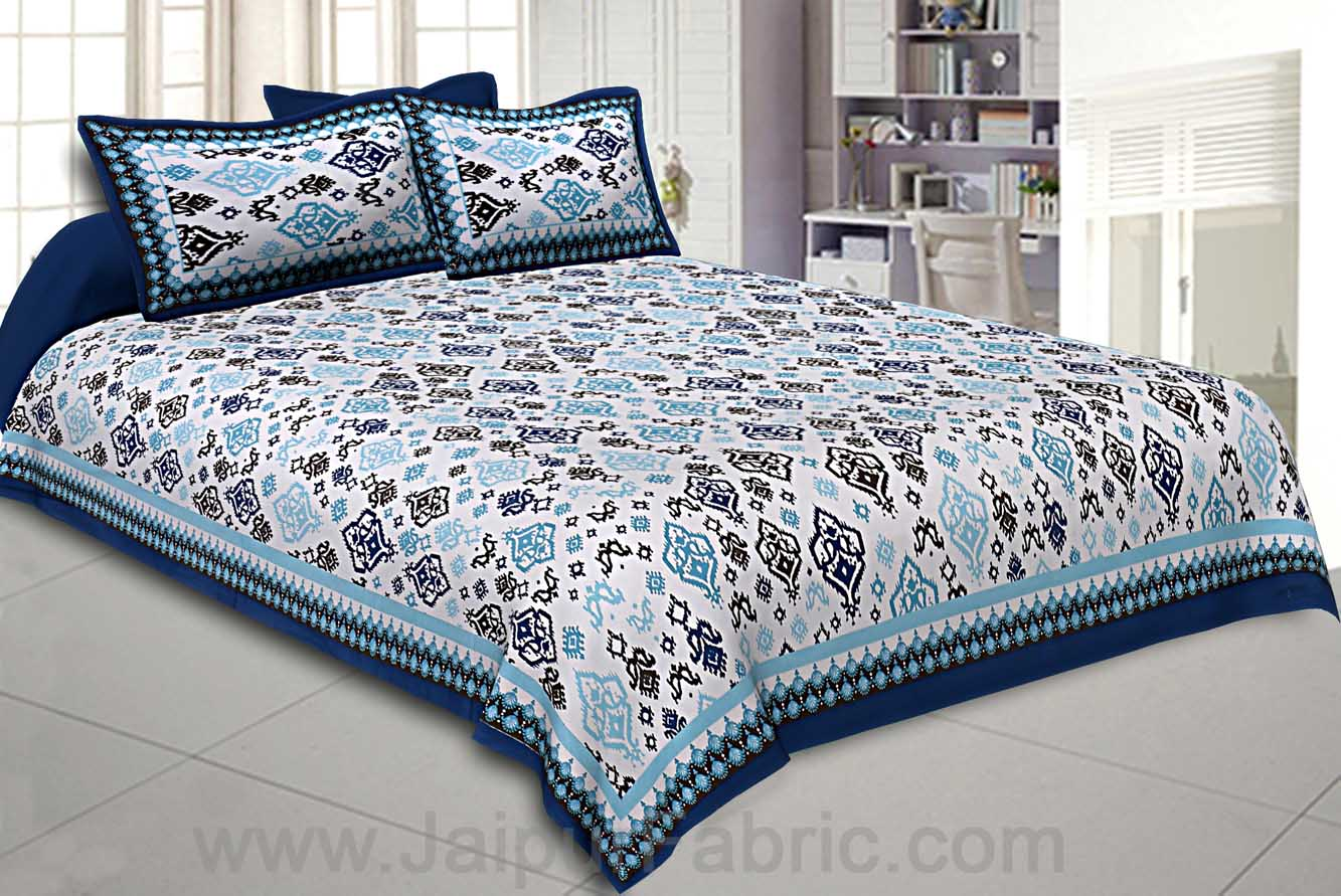 Double bedsheet Blue Seamless Traditional Print