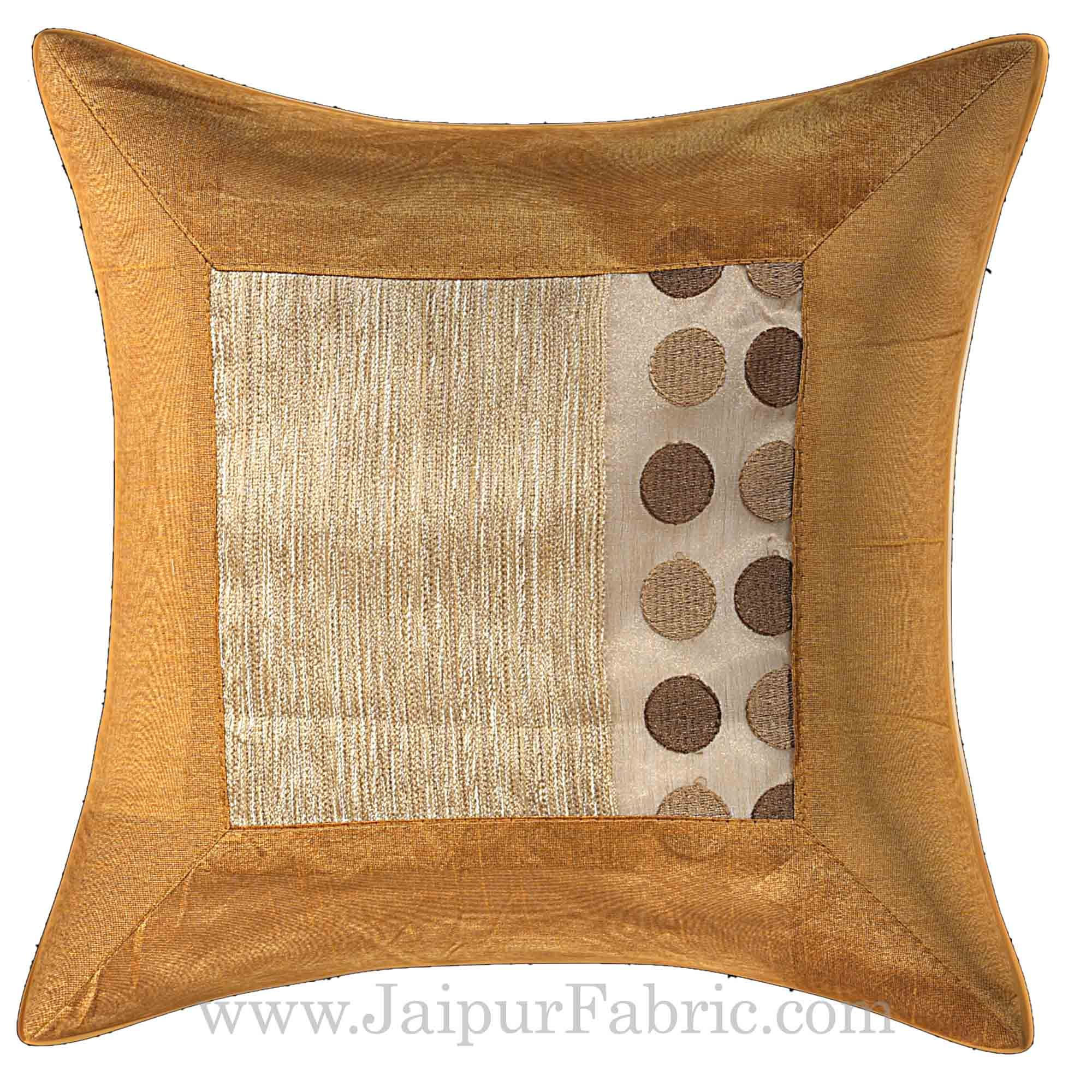 Brown Color Multi Big Dotted Cushion Cover