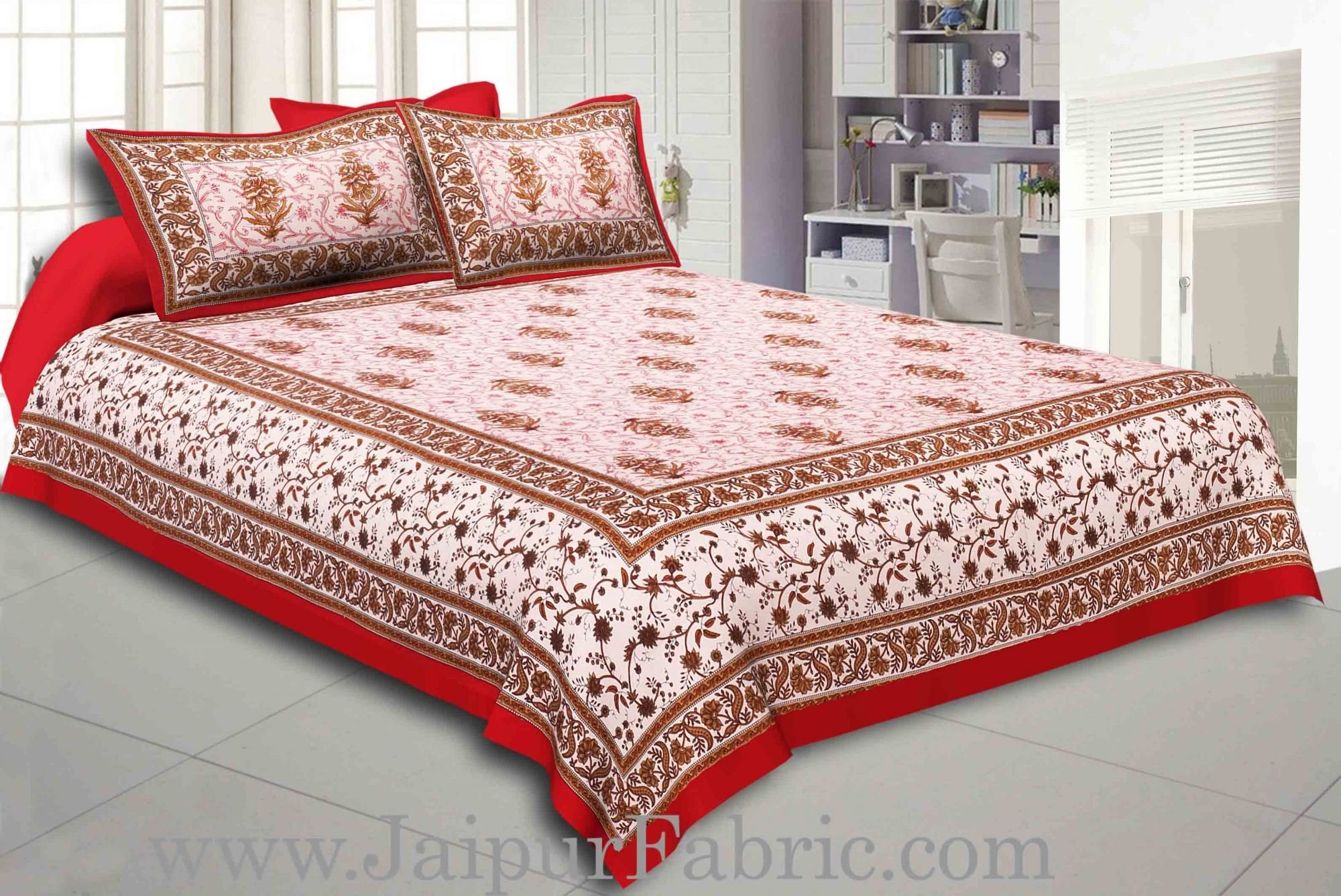 Maroon Border With Cream Base With  Small Mughal Print Cotton Double Bedsheet With Pillow Cover