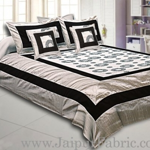Gray Base Black Border Circle Pattern Shining Fabric With Embroidery Double Bedsheet