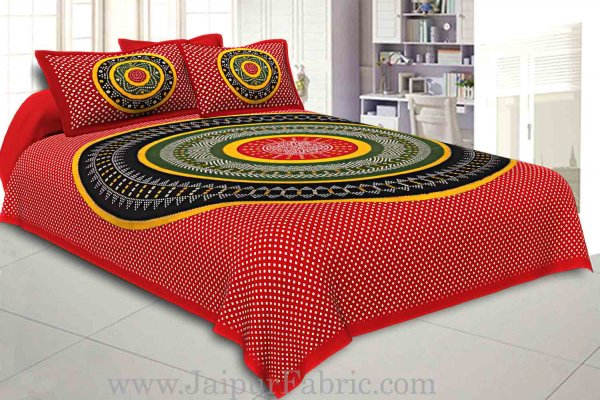 Double Bedsheet Red Green With Round Shape Bandhej Print