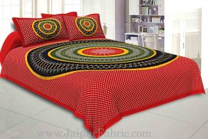 Wholesale Double Bedsheet Red Green With Round Shape Bandhej Print
