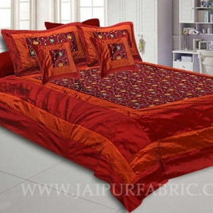 Royal Maroon Rajwada Silk Double Bedsheet