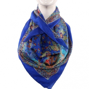 Silk Scarf Royal Blue Sahi Safari Print