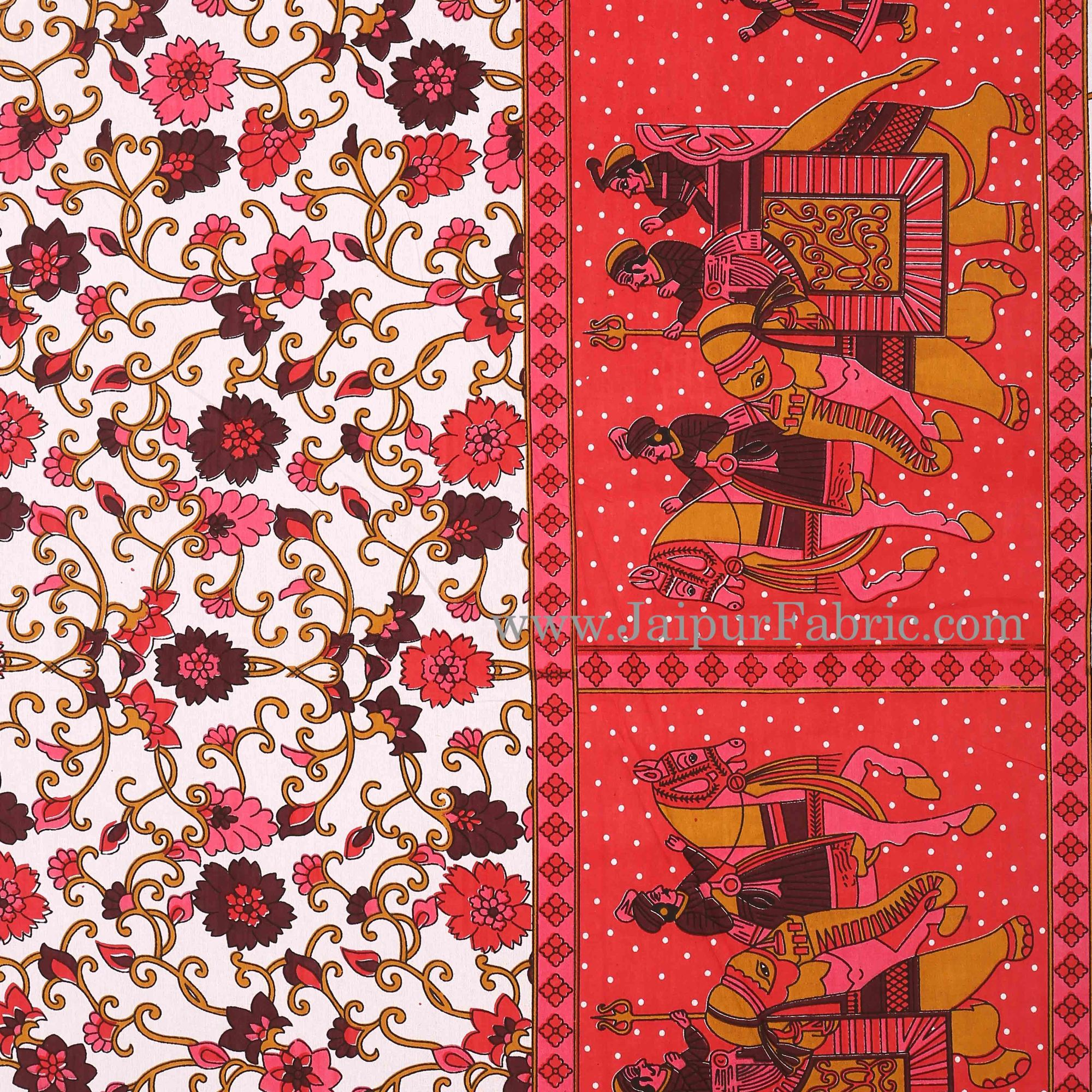 Maroon Gangaur Pattern cotton Double Bed sheet