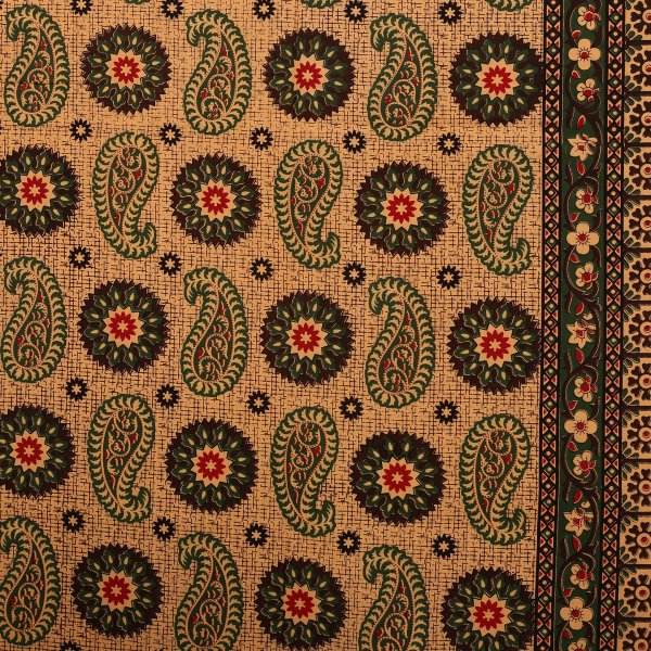 Dark Green Border Light Brown Base Flower and Paisley Pattern Coton Double Bedsheet