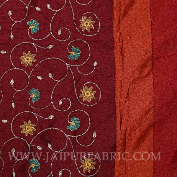 Royal Maroon Rajwada Silk Double Bedsheet