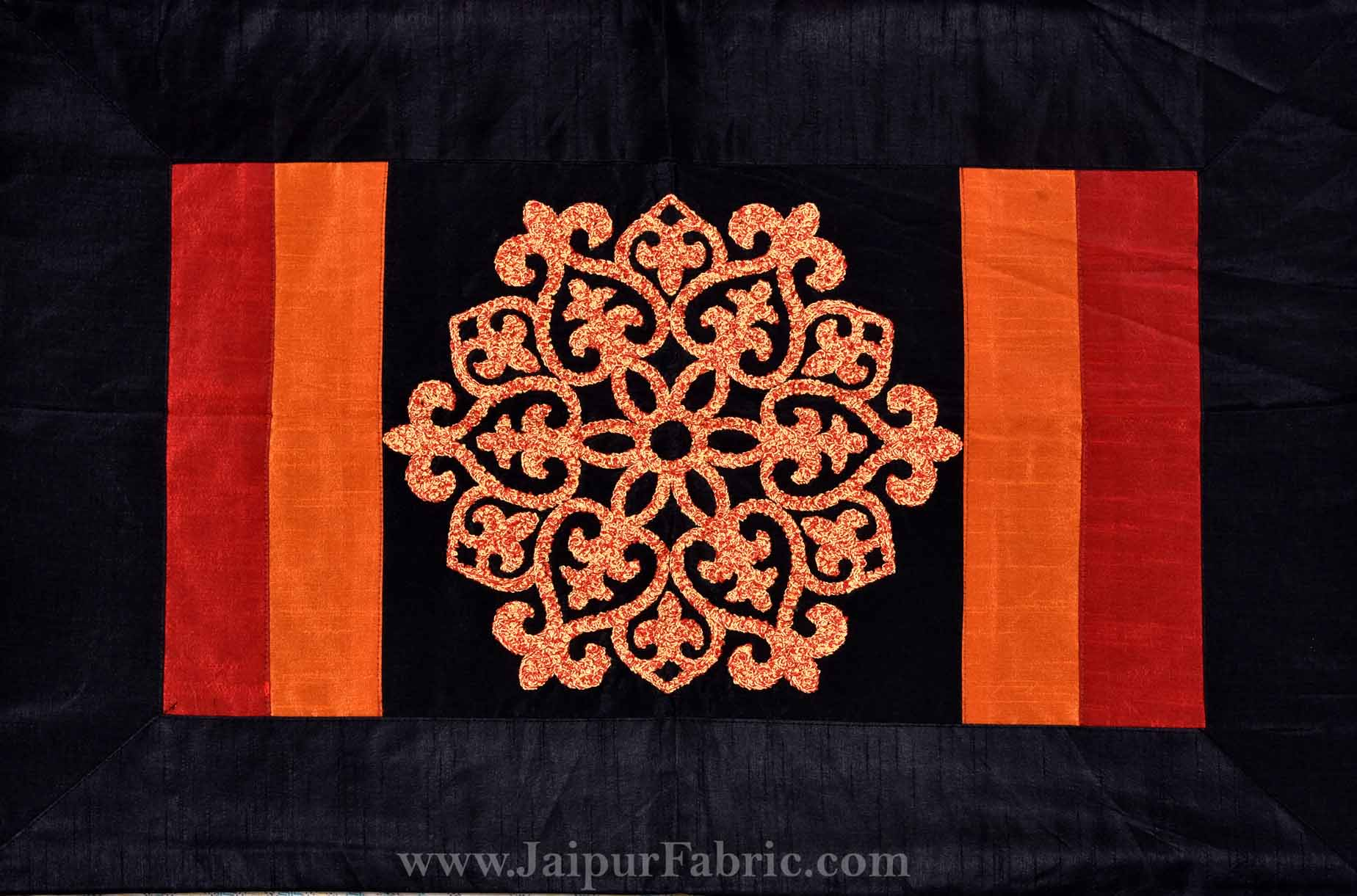 Rajwada Thread-work Silk Double Bed Cover