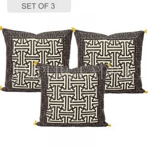 Cream Base Black Border Maze Design Cotton Cushion Cover