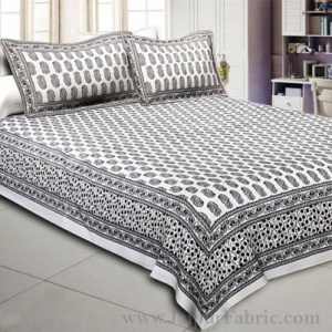 Charming Paisley Jet Black Double Bedsheet