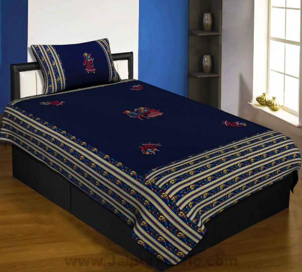Applique Blue Dandiya Jaipuri  Hand Made Embroidery Patch Work Single Bedsheet