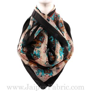 Silk Scarf Black Border Elephant Print