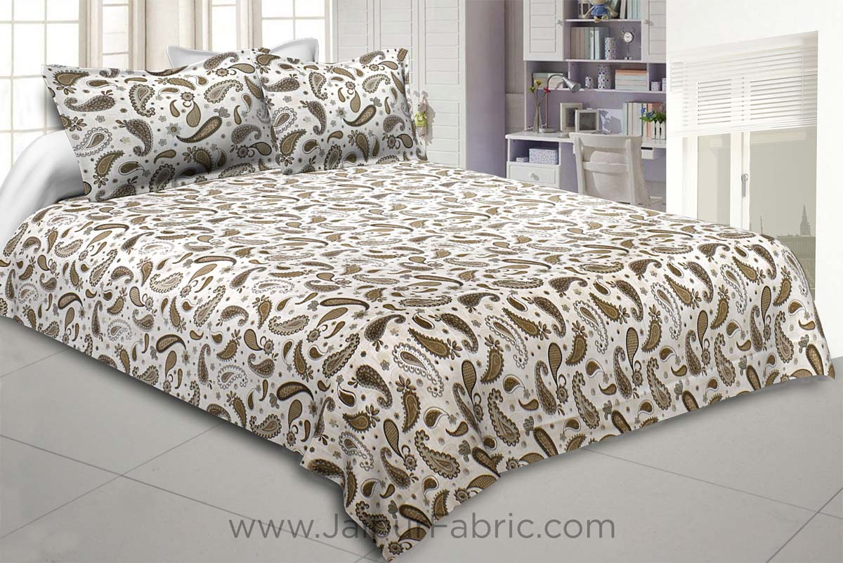 Paisley Creamish Green 240 TC King Size Double Bedsheet