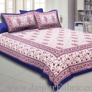 Blue Border With Cream Base With  Small Mughal Print Cotton Double Bedsheet With Pillow Cover
