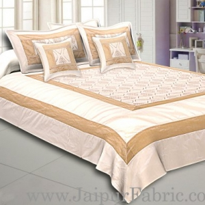 Light Brown Border Base Peach Colour Shinig Fabric With Embrodary Double Bedshet