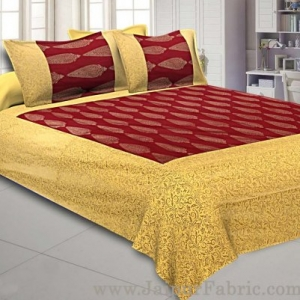 Patola BedSheet in Royal Maroon Base Cream Border Gold Print Kerry Pattern Super Fine Cotton with 2 pillow covers