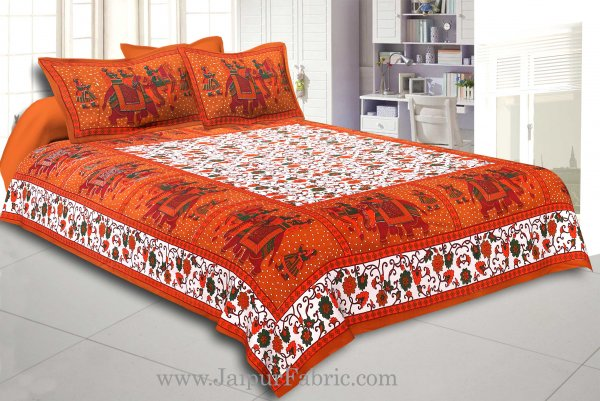 Brown Gangaur Pattern cotton Double Bed sheet